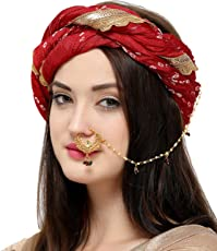 The Luxor Traditional Gold Plated Bridal Jewellery Nose Ring nathiya with Long Chain for Girls and Women