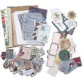 88 Pcs Vintage Ephemera Pack Washi Paper Scrapbooking Stickers DIY Decorative Sticker Natural Scenery Sticker Set for Scrapbo