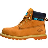 OX Safety Boots - Industrial Grade Honey Nubuck Safety Boots with Steel Toe Cap - Tan - Size 6