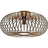 GOPLUS Suspension Luminaire en Métal,φ40 x 18CM, Puissance Maximale 60W, Couvercle Annulaire Creux en Fer de Bronze, Porte-la