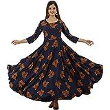 Lee Moda Women's Rayon Anarkali Printed Kurta |Anarkali Kurta for Women Gown | Floral Flared Kurta | Kurti for Womens