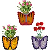 Nuha Metal Planter Pot, Multicolour, Height 12 cm , Width 14 Cm, 3 Pieces