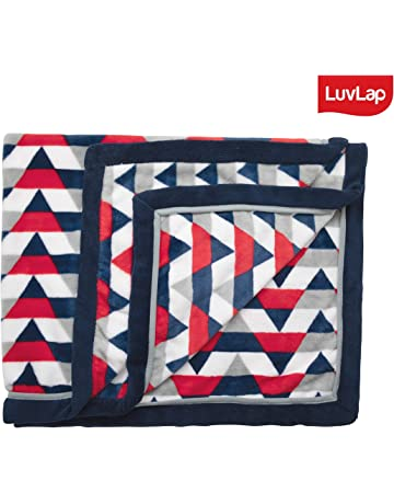 Luvlap Newborn Baby Super Ultra Soft Baby Blanket, Red Navy Stripes (110cm x 130cm)