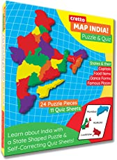 cretto Kid's Map India Puzzle with 24 Coloured Pieces and 11 Interactive Quiz Sheets (Multicolour)