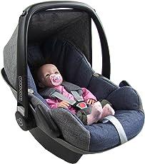 BAMBINIWELT Ersatzbezug für Maxi-Cosi PEBBLE 5-tlg, Bezug für Babyschale, Komplett-Set *NEU* GRAU/MARINE