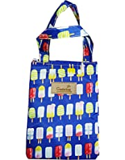 shopper 52.com Portable Cooler Bag FOLD-Over Insulated Lunch Bag With Handle And Reusable School Lunch Box Travel Tote Bag – Blue