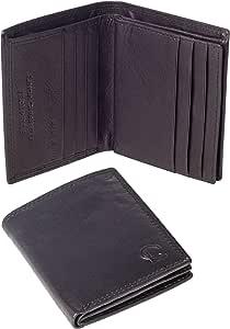 Linda Chiarelli portafoglio uomo vera pelle made in Italy blocco RFID. Piccolo portafogli con portamonete, porta tessere e carte di credito, scompartimento banconote, sottile vintage PORT3BK NERO