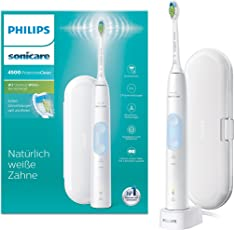 Philips Sonicare ProtectiveClean 4500 elektrische Schallzahnbürste HX6839/28, mit 2 Putzprogrammen, Andruckkontrolle, Timer und Reise-Etui, weiß
