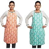 Amazon Brand - Solimo 100% Cotton Kitchen Apron Set, Paisley (Pack of 2, Orange and Blue)
