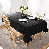 Amazon Brand - Umi Nappe Noir Rectangulaire Impermeable Nappe Exterieur Decoration 140x200 cm pour Table Salon de Jardin Napp