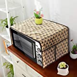 PrettyKrafts A1117 Microwave Oven Top Cover, Microwave Cover with Pockets Free Size, with 4 Utility Pockets, Trio Beige Black