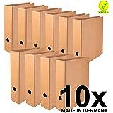 Falken Pure Lot de 10classeurs véganes, fabriqués en Allemagne Classeur - large Format A4 marron