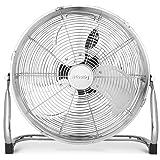 Ventilateur de sol H.Koenig JOE32, Design métal chromé, 45 cm, Haute vitesse, Résistant, 3 vitesses de ventilation, Tête incl