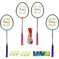 Shivgan Extra Ordernary Combo Badmintion Set of 4 Racket 6 naylon Shuttes 1 Badmintion Net Free