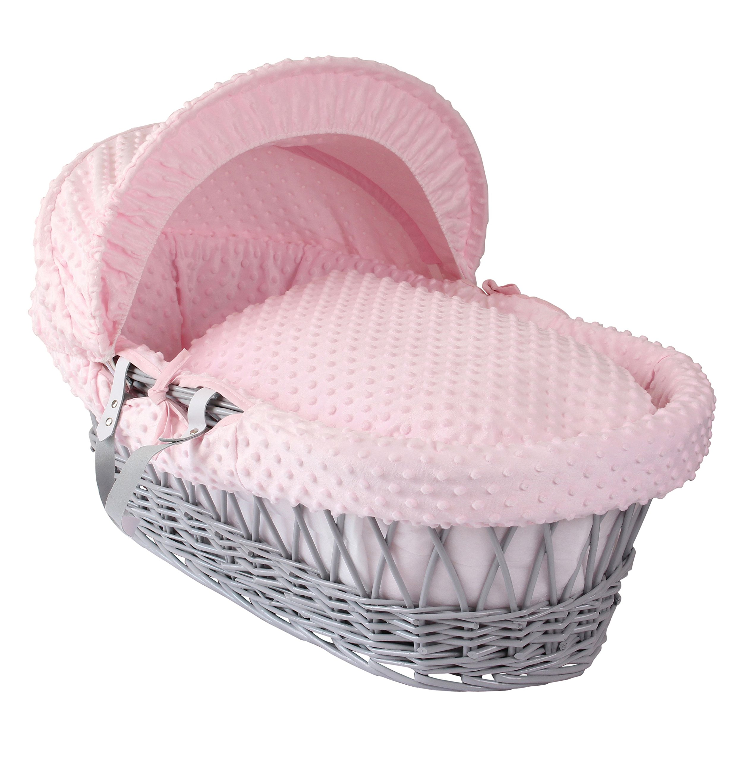 Clair de Lune Dimple Grey Wicker Moses Basket, Pink