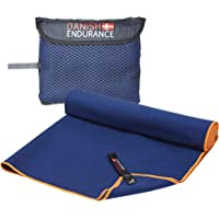DANISH ENDURANCE Microfibre Travel & Sports Towel 1 or 3 Pack, Quick-Dry, Ultra Absorbent, Lightweight