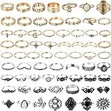 مجموعة من 67 قطعةً من خواتم اصبع من بانتايد، خواتم اصبع قابلة للتكديس للنساء بتصميم بوهيميان وازهار منحوتة مفرغة بلون ذهبي وف