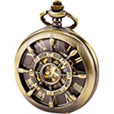 TREEWETO Pocket Watch Vintage Rudder Hollow Mechanical Steampunk Skeleton Roman Numerals Fob Watch with Chain for Men Women