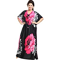 Noty Women's Sarina Floral Maxi Nightgown (B-13_Pink_Free Size)