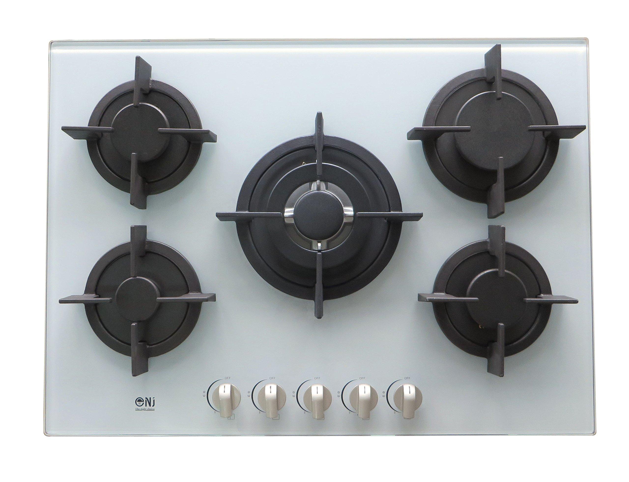 NJ-705G 5 Bruciatore Piano Cottura 70cm Gas Gamma ad Incasso in Vetro Temperato Cucina Piano Cottura