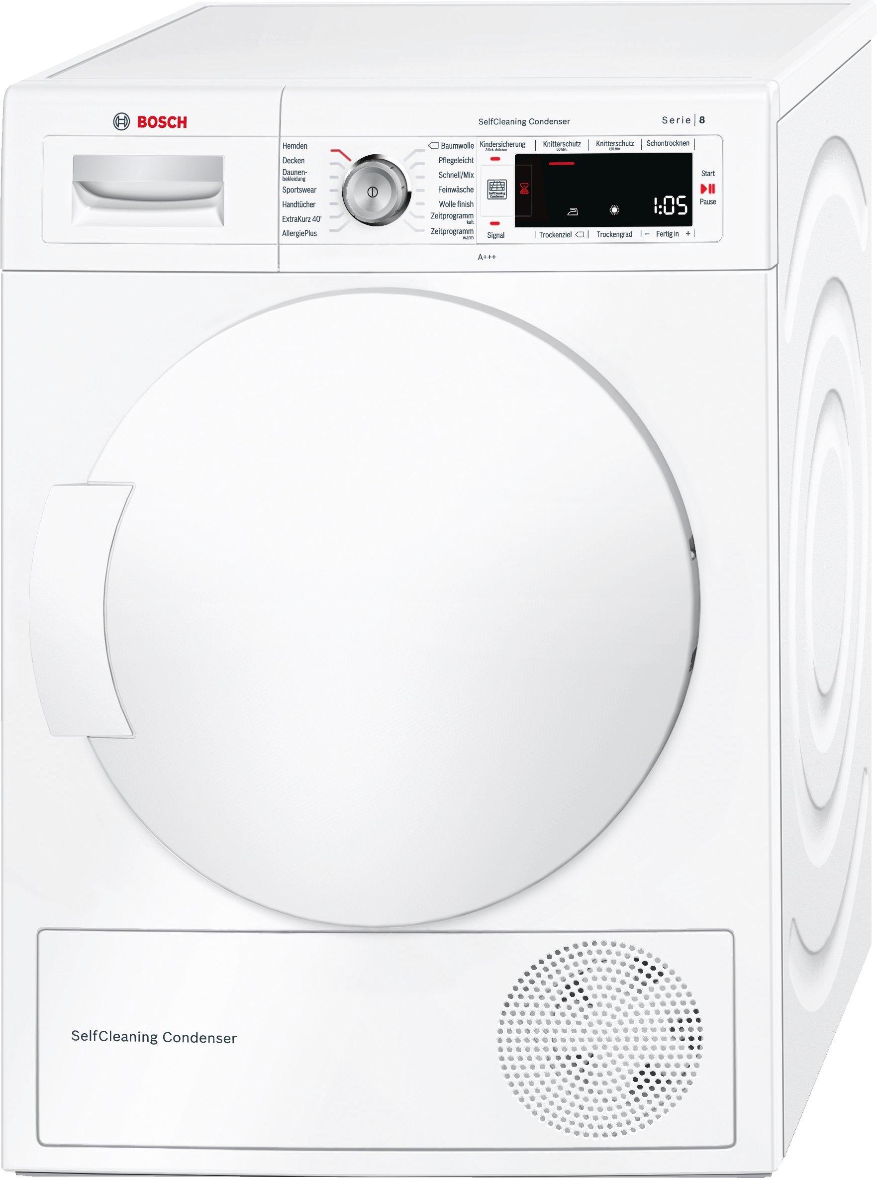 Bosch WTW845W0 Serie 8  Wärmepumpentrockner, Kondenstrockner, 8 kg, weiß