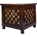 Art window Beautiful Antique Wooden Stool with Brass Cutting Design Storage Stool for Living Room and Bedroom Furniture (Brow