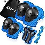 CRZKO Beschermende uitrusting voor kinderen/tiener, kniebeschermers en elleboogbeschermers 6-in-1 set met polsbescherming en