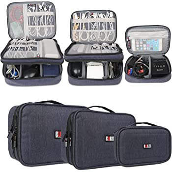 BUBM 3-piece Padded Gear Case, Ultra-compact Electronics Organiser for Data Cables, Chargers, Plugs, Memory Cards, CF Cards and More-Double Layer Compartment with Zipper Closure, Dark Blue