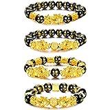 Milacolato 4 Pezzi Feng Shui Pixiu Braccialetti di Buona Fortuna per Uomo Donna Mantra Braccialetti con Perline di Amuleto Pi