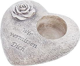 SIDCO Grabschmuck Herz Grabdekoration Spruchstein Grableuchte Grablicht Rose