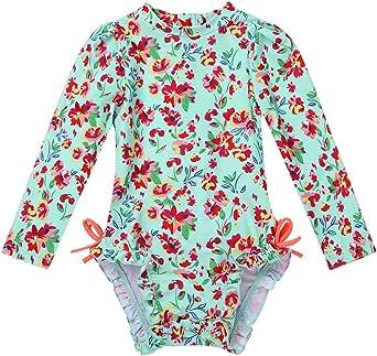 dPois Baby M/ädchen Bademode Tankini Set Langarm Oberteil Shirt Badeslip mit R/üschen Fr/üchte Muster Neugeborene S/äuglind Swimswear 0-24 Monate