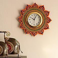 eCraftIndia Royal and Elegant Decorative Wooden and Papier-Mache Wall Clock (35 cm x 2.5 cm x 35 cm)