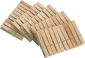 WENKO 3707501100 Wäscheklammern - 50-teilig, Holz, Braun