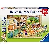 Ravensburger - 09195 - Puzzle Enfant Classique - Journée À La Ferme - 2 X 24 Pièces