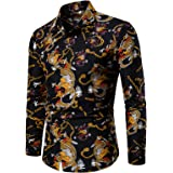 suanret Men Shiny Shirt Slim Button Down Ruffle Shirt Dance Fancy T Shirt Christmas Party Nightclubs Costume Top Long Sleeve