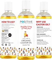 POSITIVE Cold-pressed Castor oil for Hair & Beard Growth [200 ML] | Pure and Organic