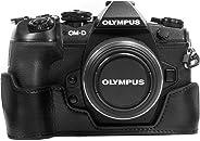 MegaGear MG1086 Olympus OM-D E-M1 Mark II Hakiki Deri Kamera Çantası, Siyah