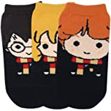 Balenzia x Harry Potter character lowcut socks- Harry, Ron & Hermione for Women Made with 100% Combed Cotton & Spandex(Pack o