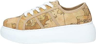 ALVIERO MARTINI Donna Sneakers in Canvas Stampa Geo Classic Naturale MOD. P343 9680
