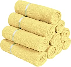 Story@Home 100% Cotton Soft Towel Set of 10 Pieces, 450 GSM - 10 Face Towels - Lemon Yellow
