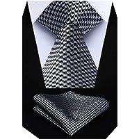 HISDERN Men's Houndstooth Ties Handkerchief Wedding Formal Necktie & Pocket Square Set Business Tie for Men
