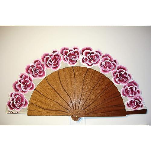 """Ventaglio Spagnolo/Ventaglio dipinto a mano/Ventaglio flamenco/Ventaglio di legno""""Rose bordeaux"""""""
