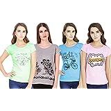 NIVIK Women's T-Shirt (Pack of 4) (CMB4-WOMEN-TSHIRT_Turquoise_Small)