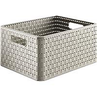 Rotho 1115307422 Contenitore Country Box, Effetto Rattan, Tortora, 1 - Confezione