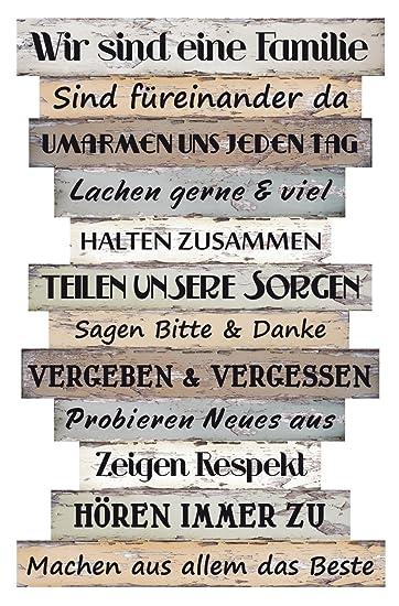 Bada Bing Planken Schild Familie Familienregeln 51 X 33 Wandschild Bild  Spruch Deko 037: Amazon.de: Küche U0026 Haushalt