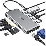 AUKEY USB C Hub 12 in 1 Adattatore di Tipo C con Ethernet, 4K HDMI, VGA, 2 USB 3.0,2 USB 2.0,100 W PD, Porta Dati USB-C e Let