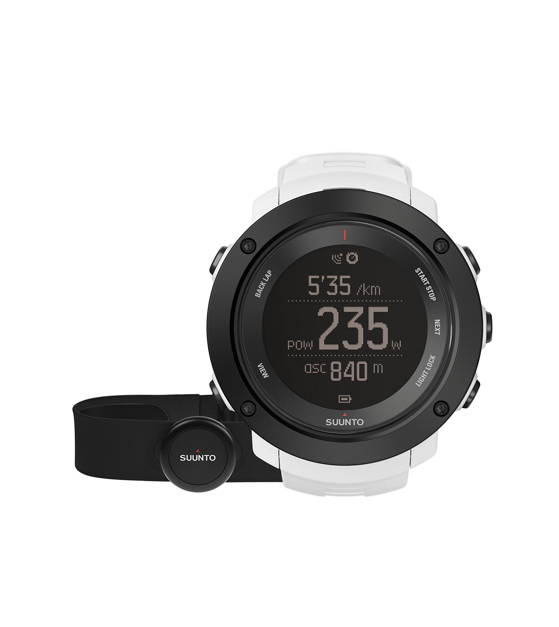 Suunto – Ambit3 Vertical HR – SS021966000 – Reloj GPS Multideporte + Cinturón de frecuencia cardiaca (Talla M) – Ideal para montaña – Blanco