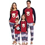 Hawiton Pijamas de Navidad Familia Manga Larga, Ciervo Ajuste Delgado y Suave 2 Piezas Ropa de Dormir Conjunto Juego Homewear