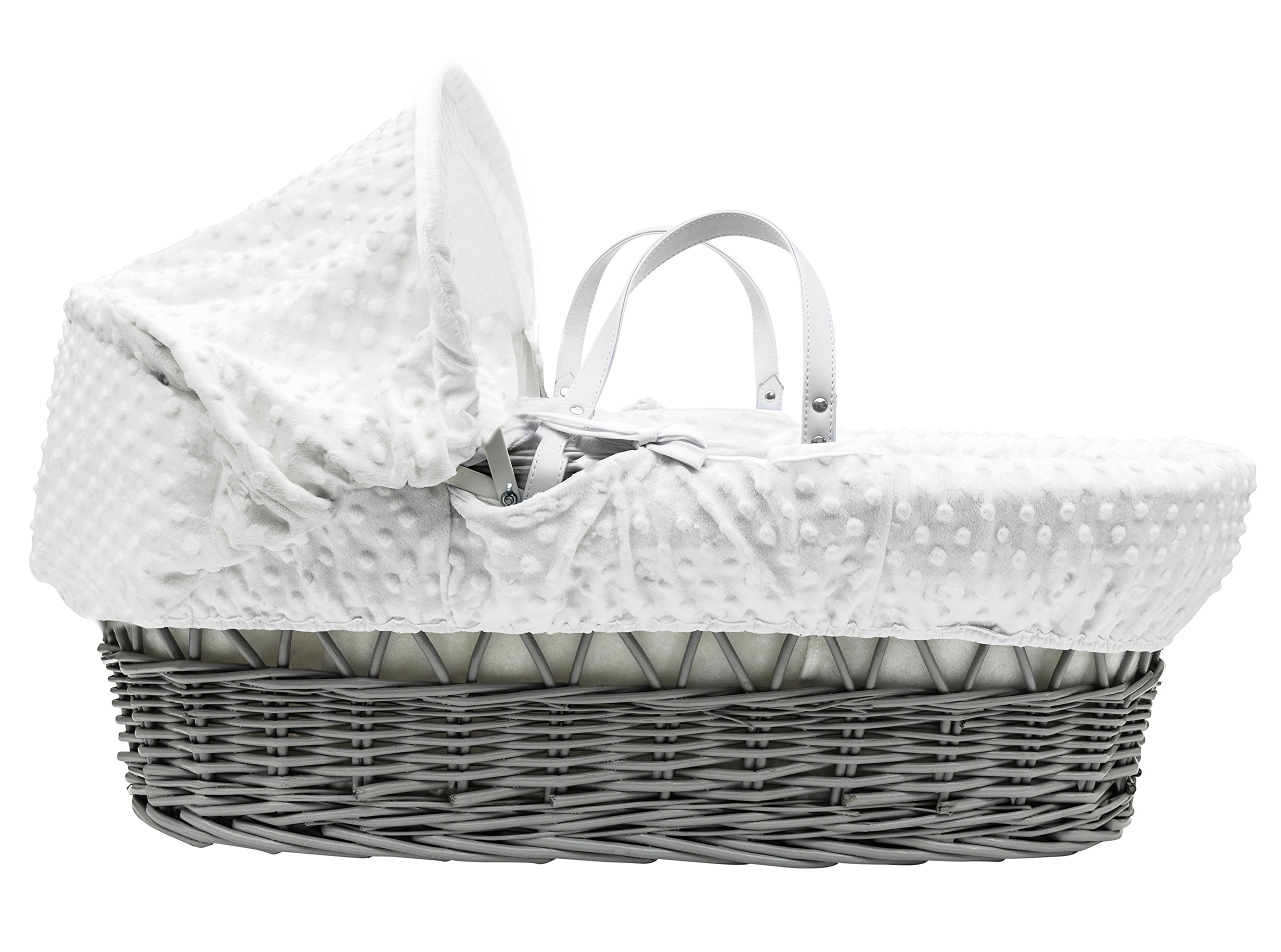 White Dimple Grey Wicker Padded Moses Basket & Deluxe Grey Rocking Stand Elegant Baby