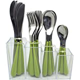 Exzact Cutlery Set 24pcs Stainless Steel in a Plastic Holding Rack - Color Handles - 6 x Forks, 6 x Knives, 6 x Table Spoons,